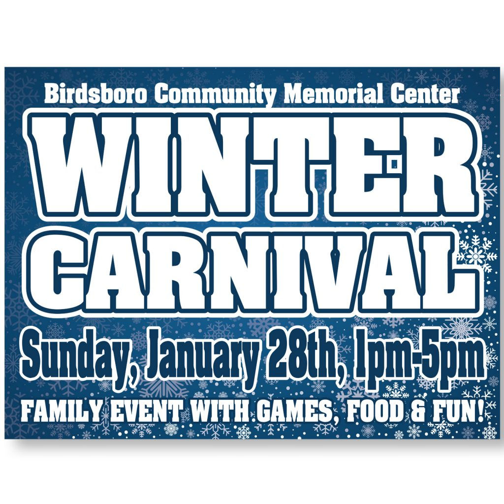 24x18 BCMC Winter Carnival coroplast sign design