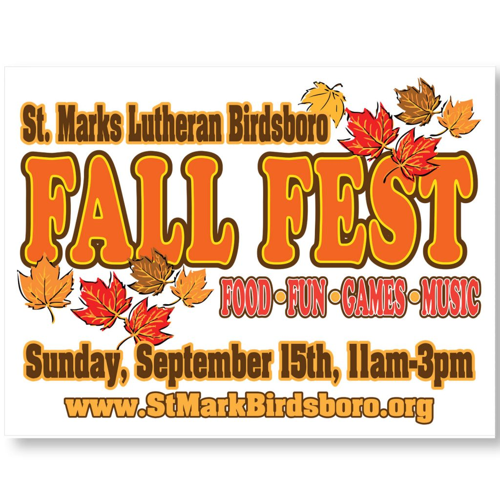 24x18 St Marks Lutheran Church Fall Fest coroplast sign design