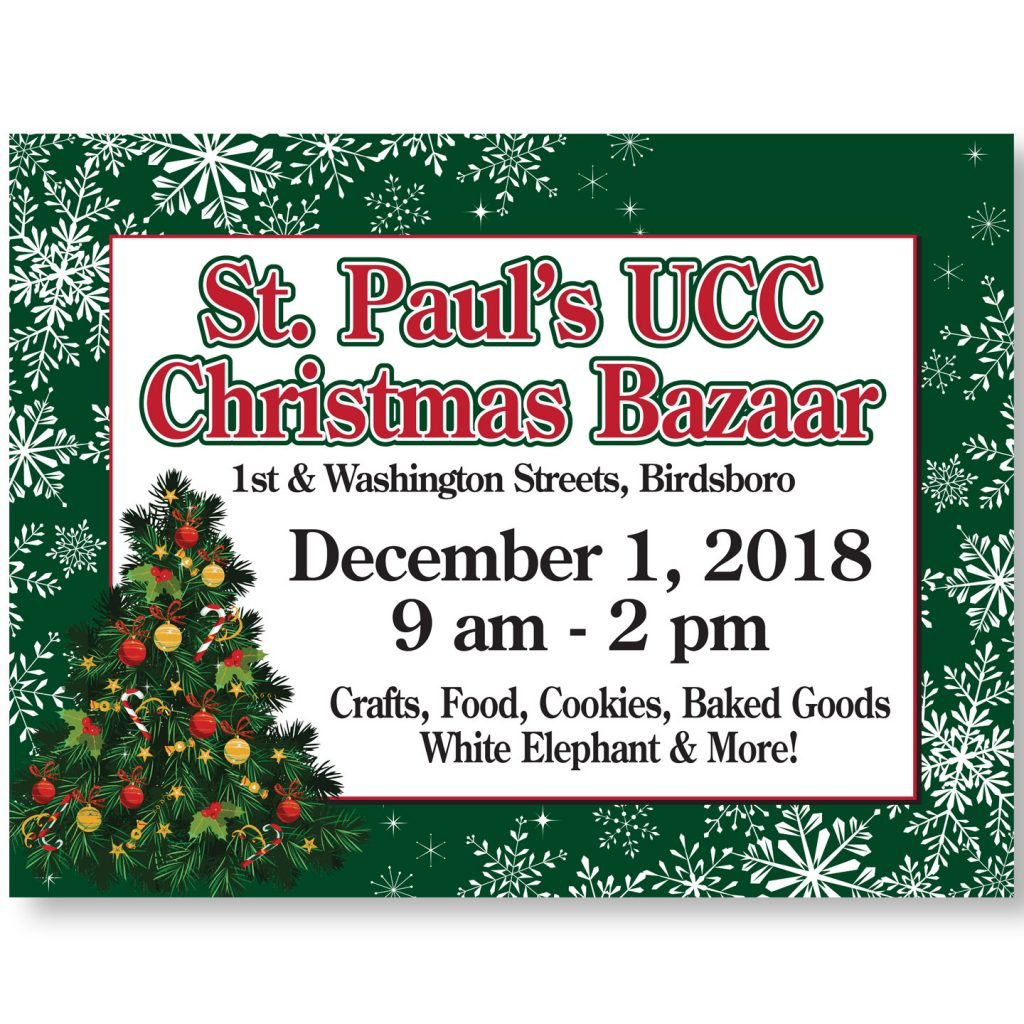 24x18 St Pauls UCC Christmas Bazaar coroplast sign design