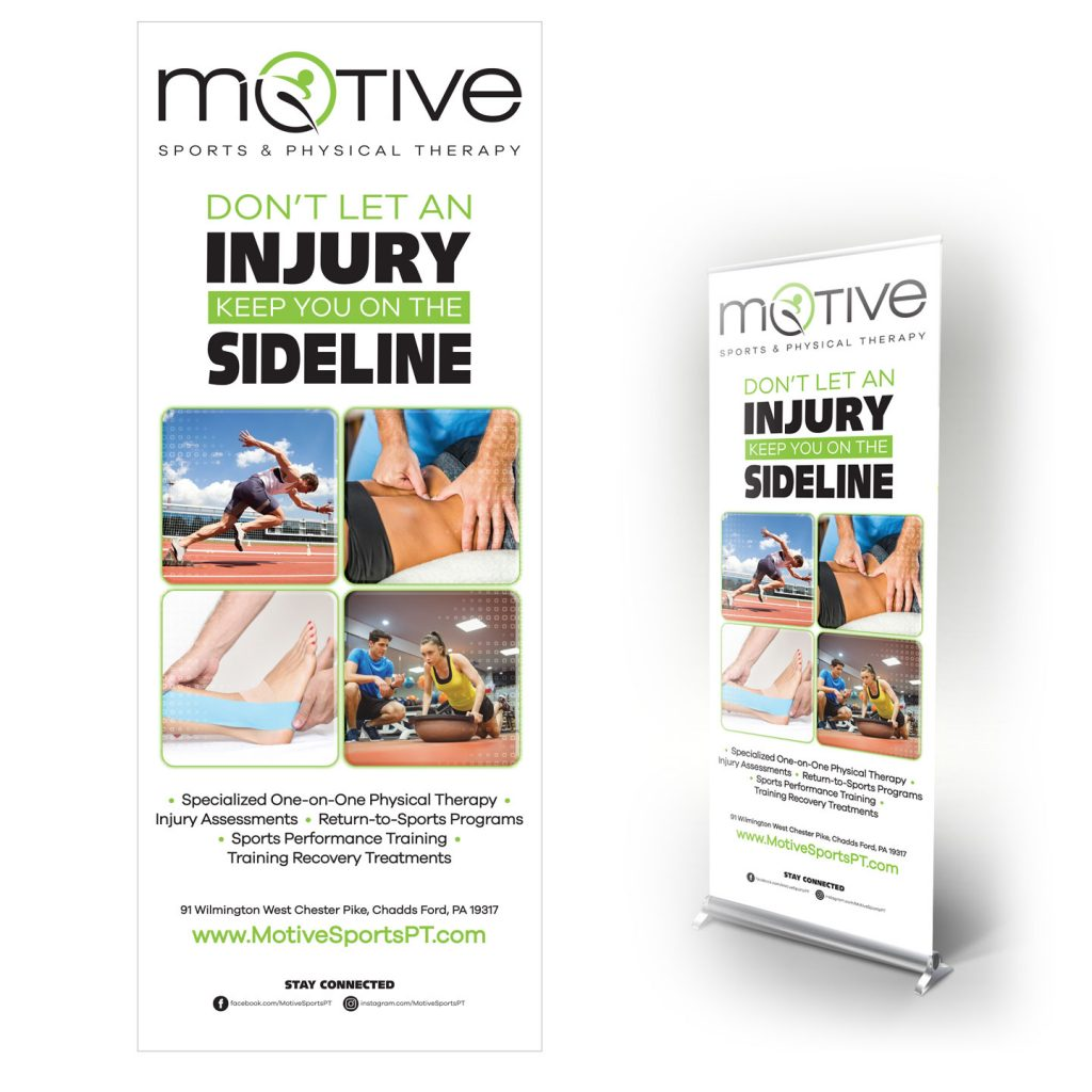33_4375x85 MOTIVE Sports & Physical Therapy pop-up banner stand design