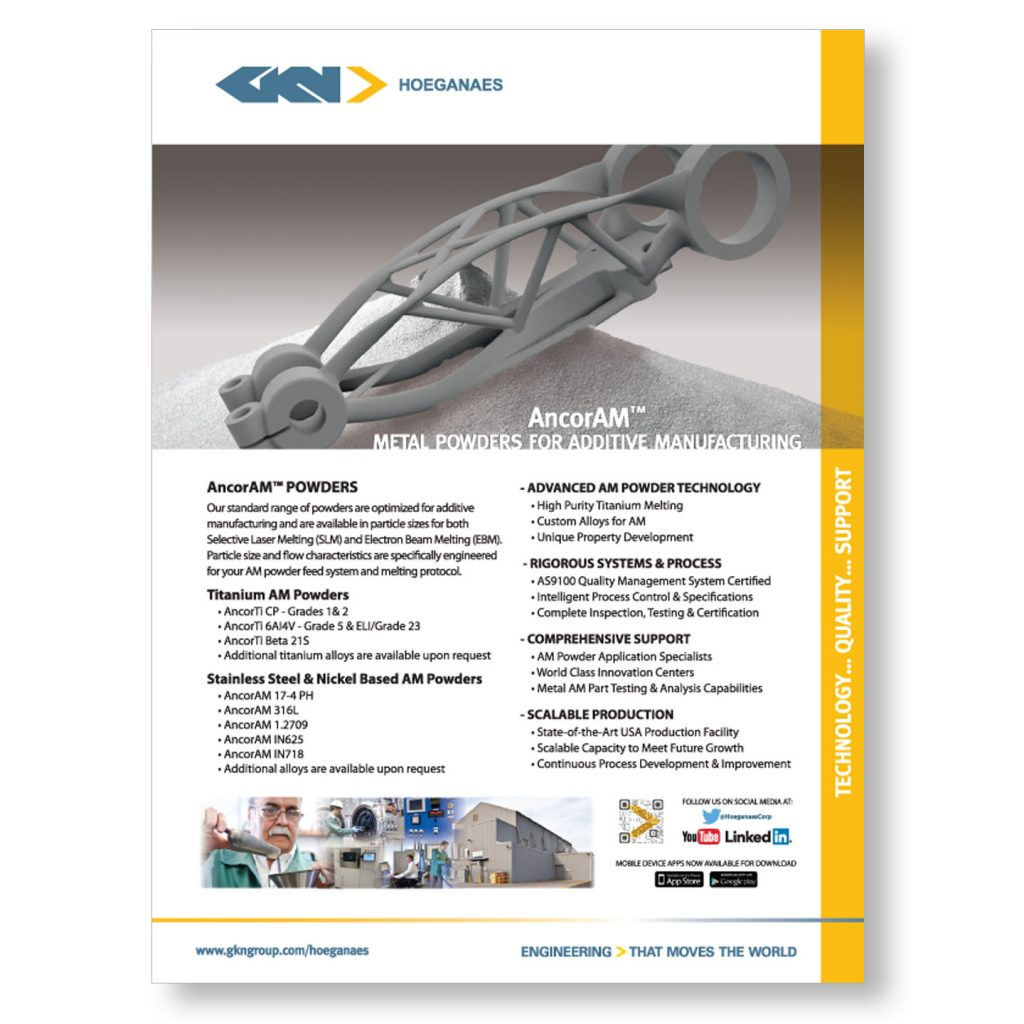 GKN Hoeganaes AncorAM 1pg product ad design