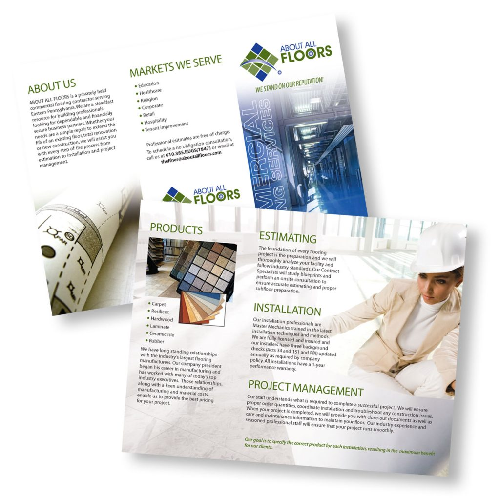 About All Floors Commercial Services trifold brochure design