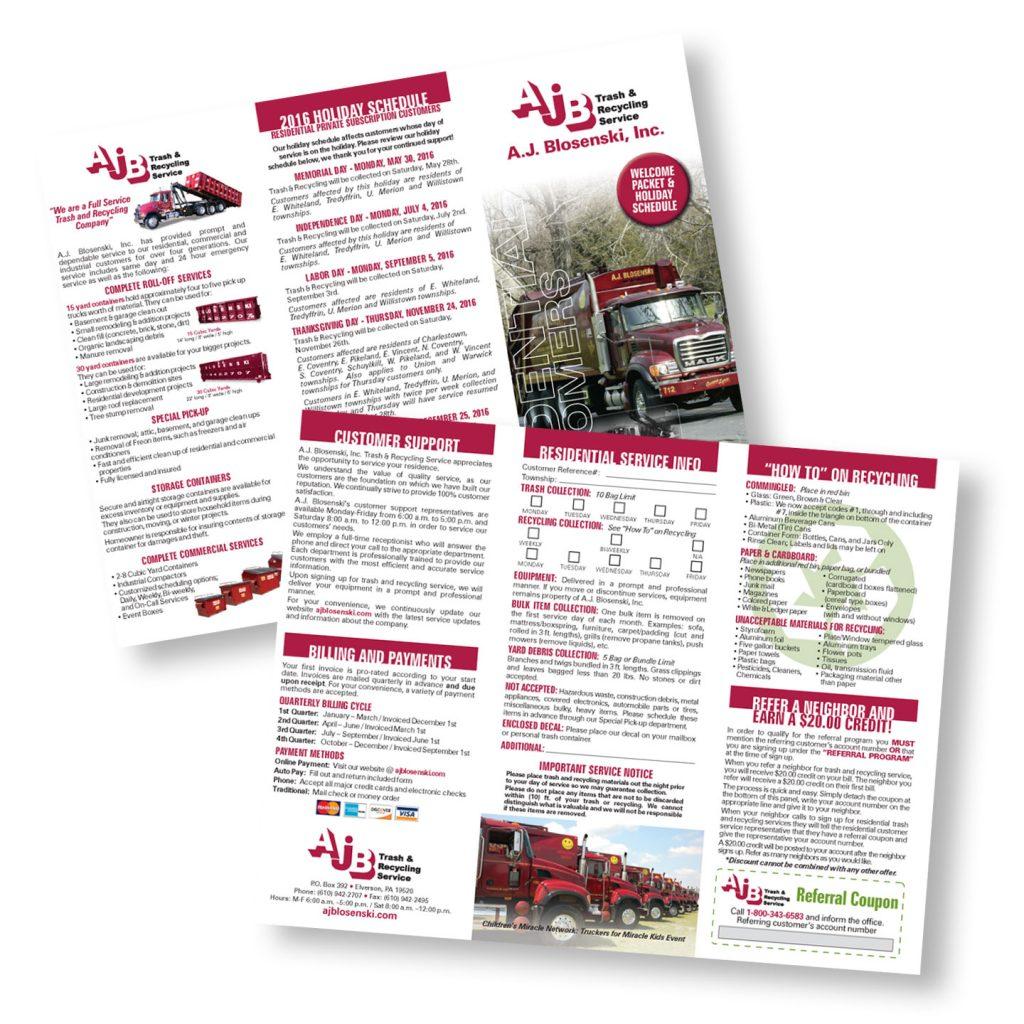 AJ Blosenski Inc Residential Services trifold brochure design