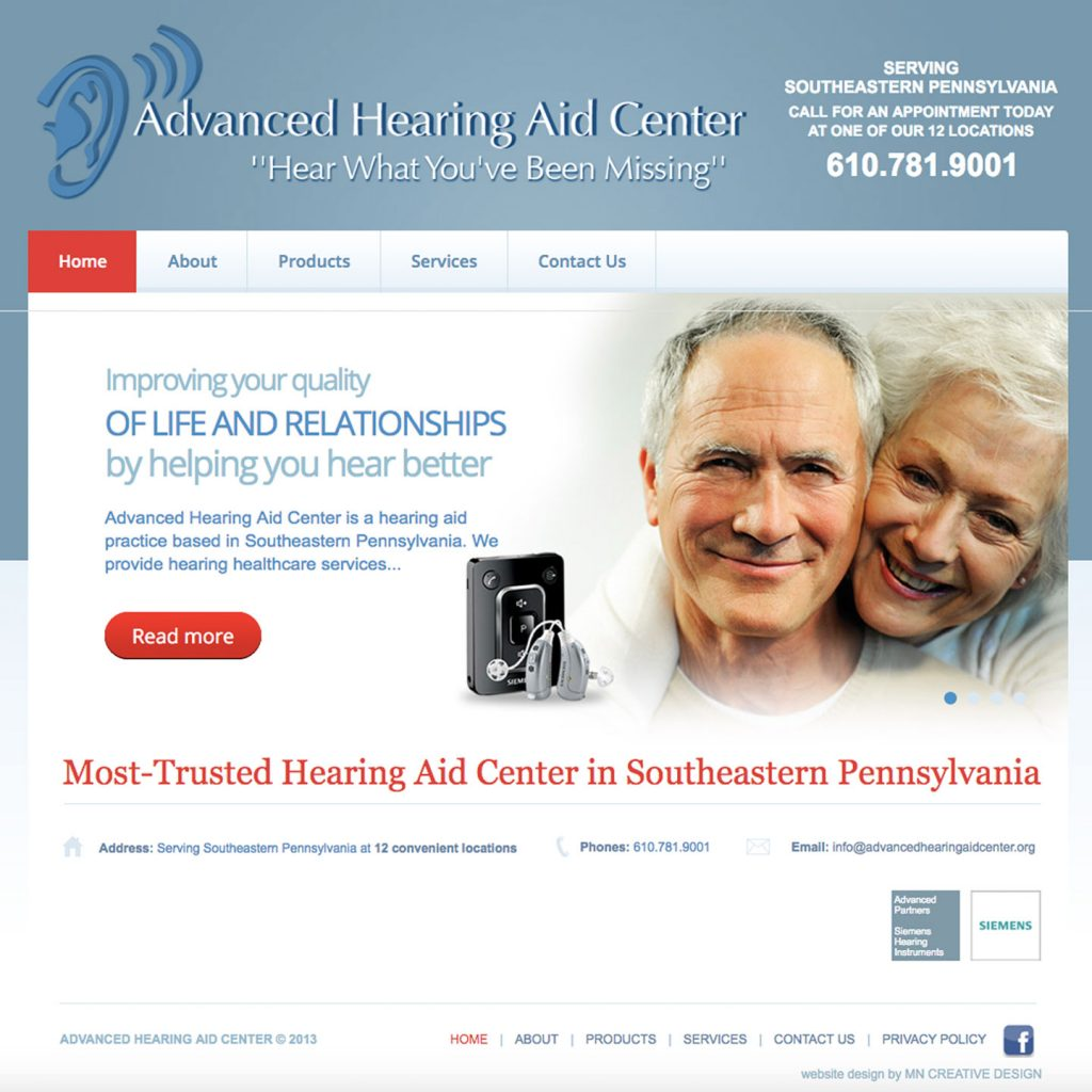 Advanced Hearing Aid Center website design