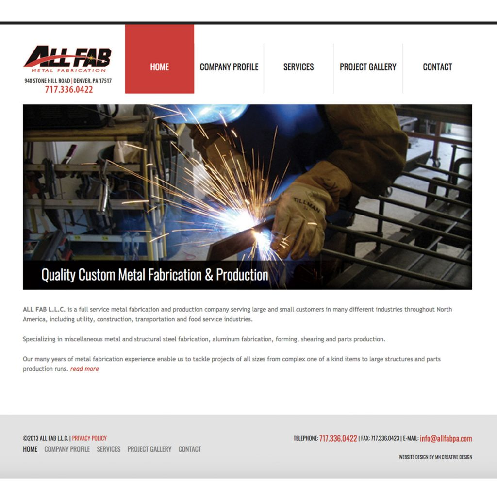 All Fab Metal Fabrication website design