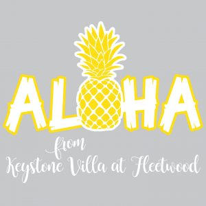 Keystone Villa at Fleetwood Aloha event apparel logo design
