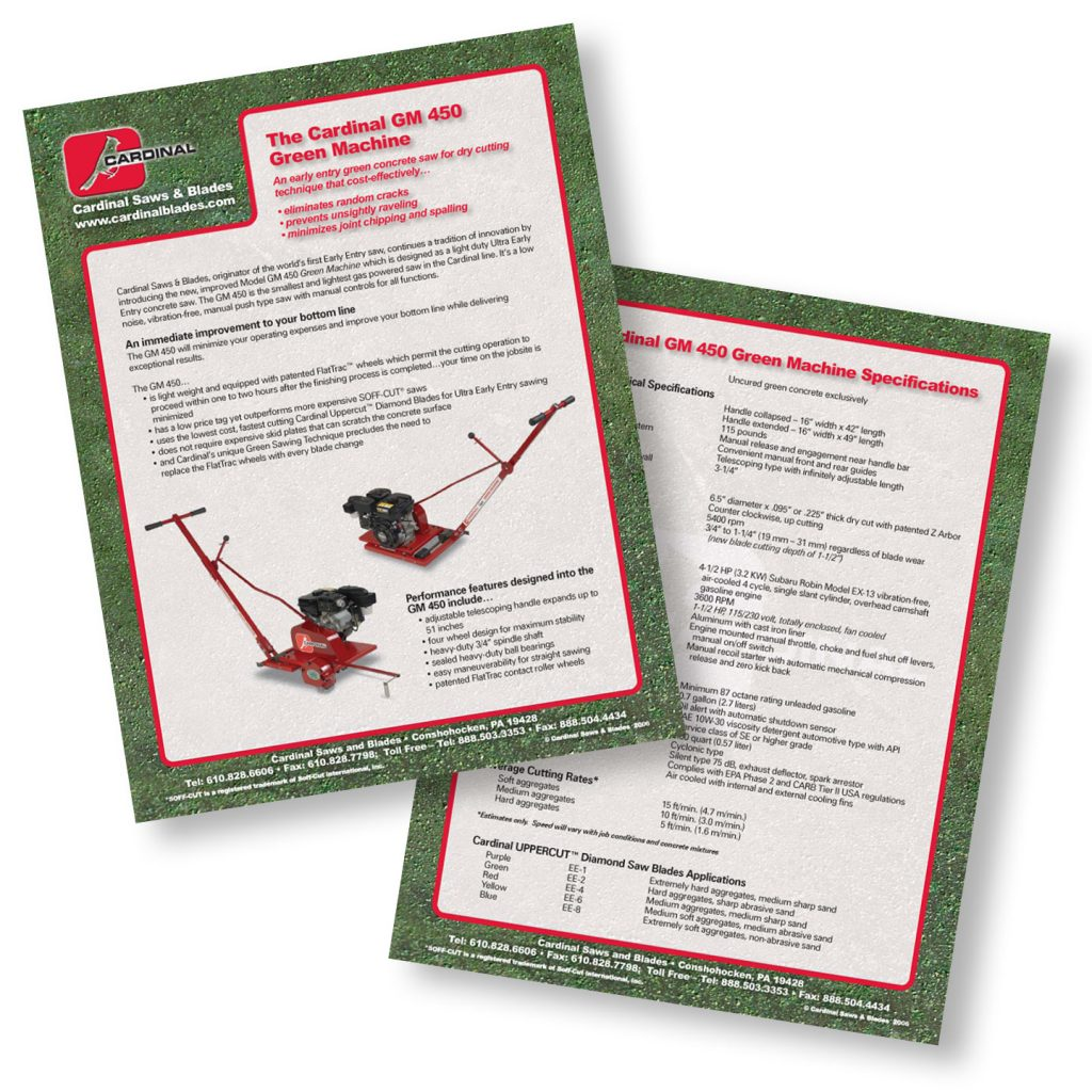 Cardinal Saws & Blades Inc Green Machine product sheet design