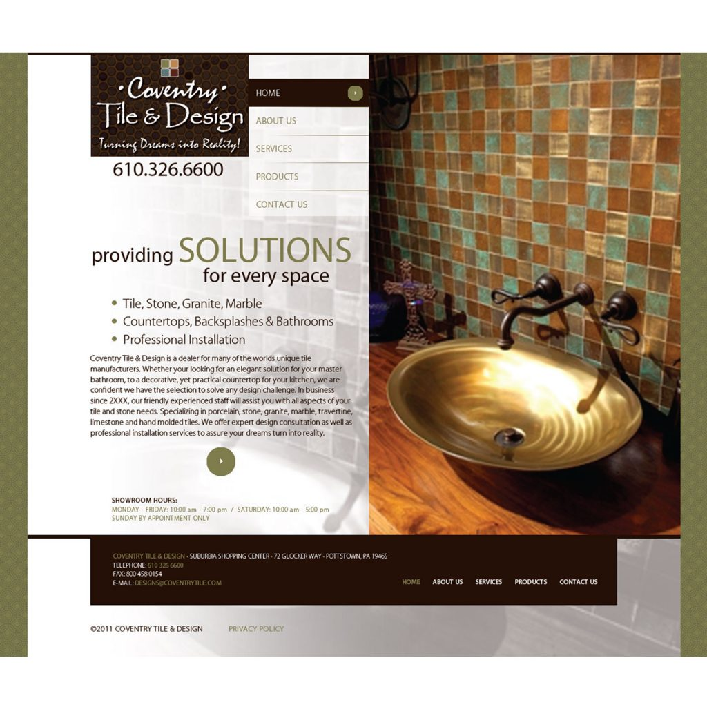Coventry Tile & Design website design