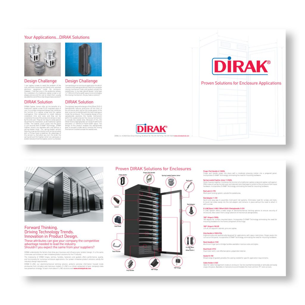 DIRAK Rack Enclosure trifold brochure design