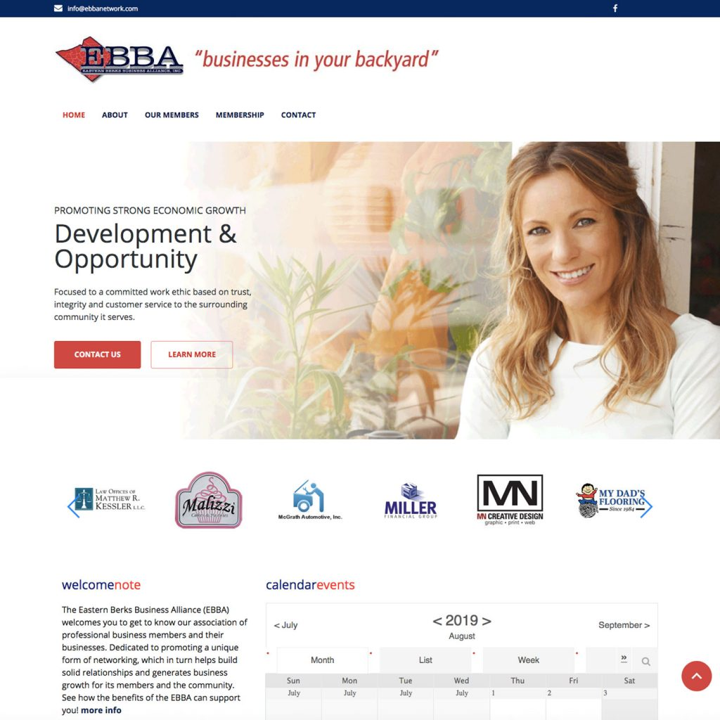 EBBA (Eastern Berks Business Alliance) website design
