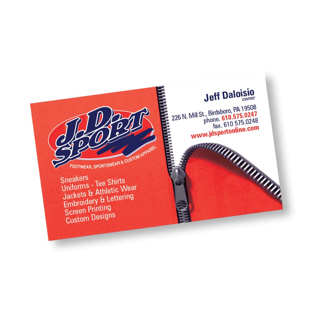 JD Sport business card design