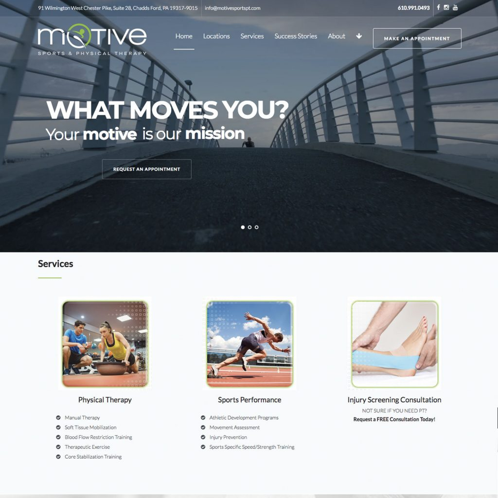 MOTIVE Sports & Physical Therapy website design