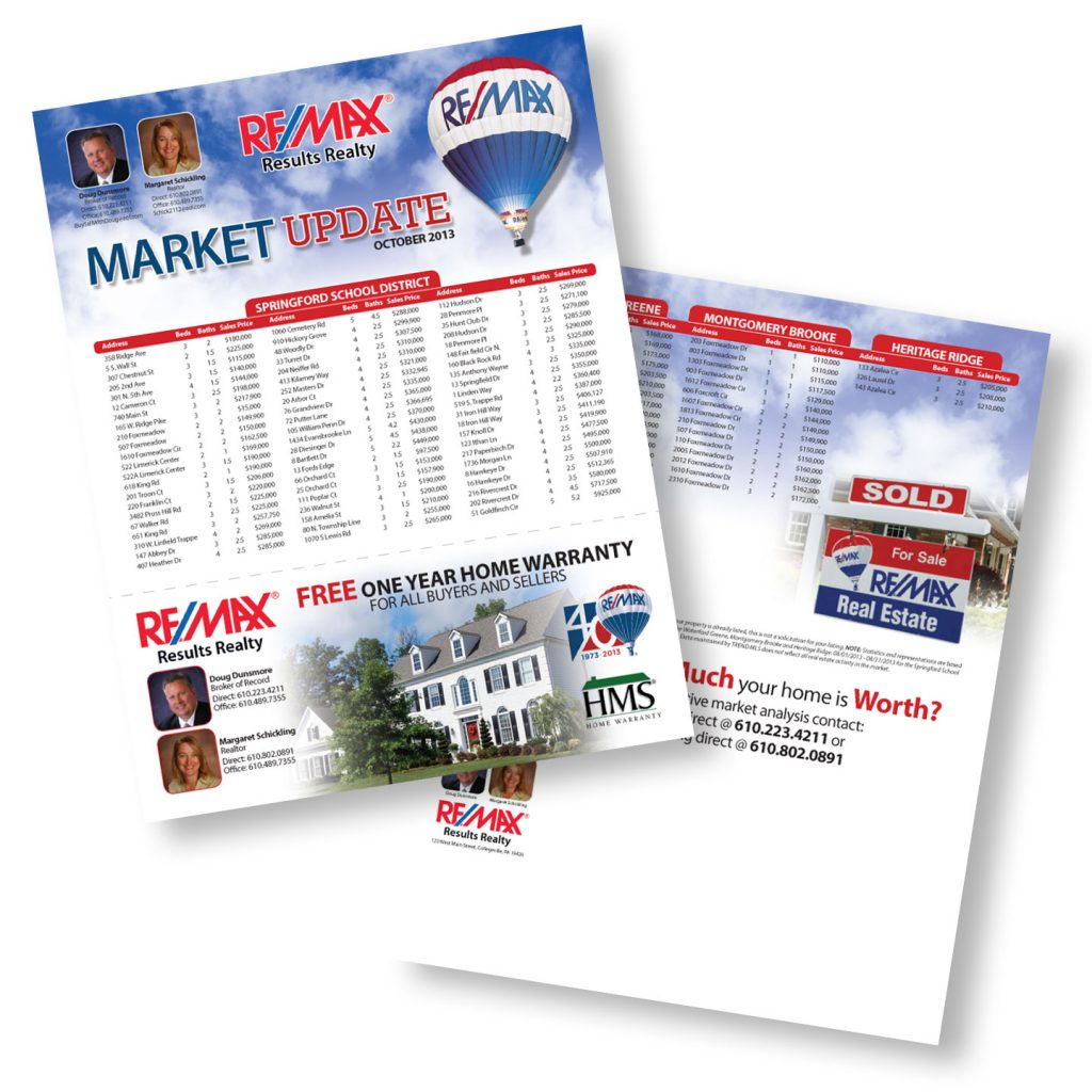 RE/MAX Results Realty Market Update sales sheet design