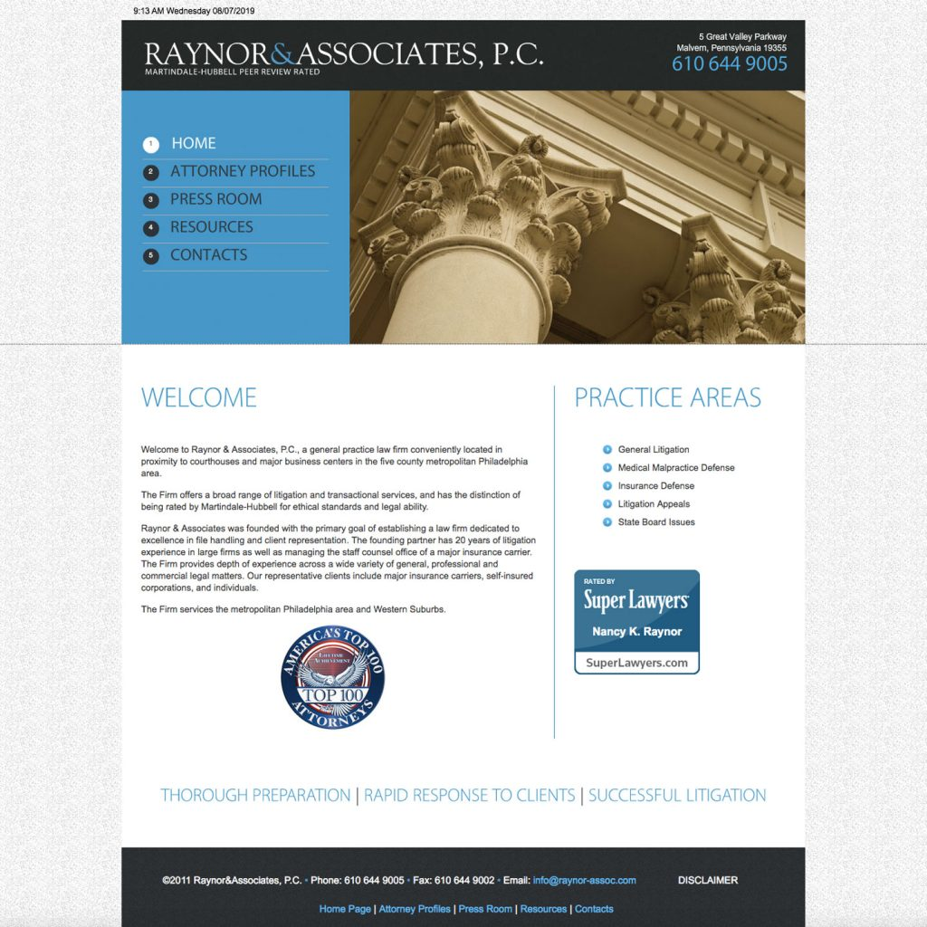 Raynor & Associates, P.C. website design