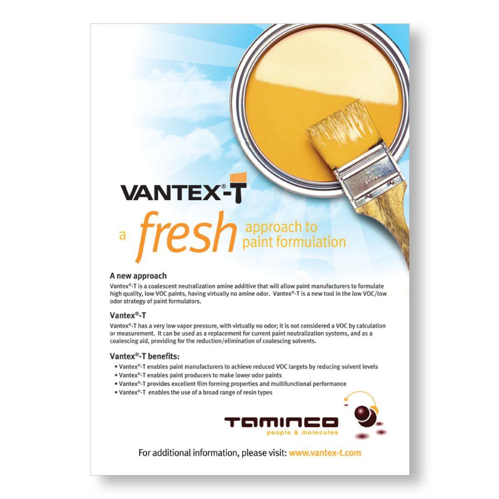 Taminco VantexT 1pg print ad design