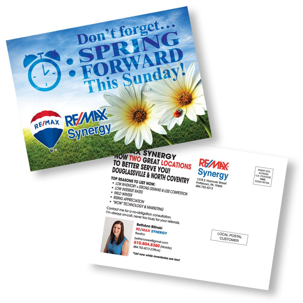 RE/MAX Synergy SPRING Forward Direct Mail postcard design
